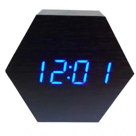Часы сетевые VST-876-5, синие, температура, USB