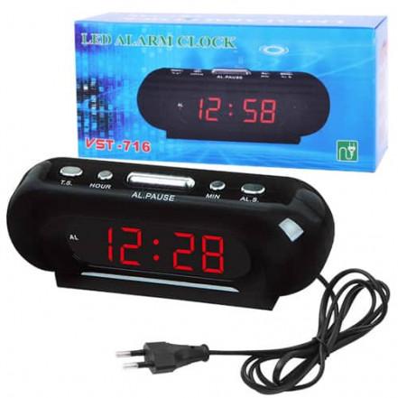Часы сетевые VST-716-1 красные, 220V