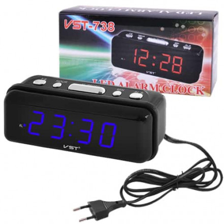Часы сетевые VST-738-5 синие, 220V