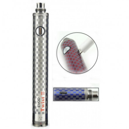 Аккумулятор с изменяемым напряжением EVOD TWIST III 1650мАч EC-016 Silver *