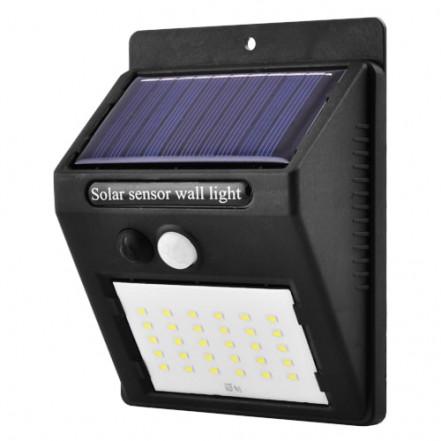 Настенный уличный светильник XF-6010-30SMD, 1x18650, PIR+CDS, солнечная батарея