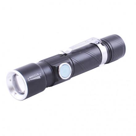 Фонарь 802-T6, ЗУ micro USB, 1x18650, zoom, зажим, Box