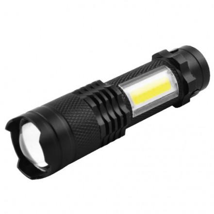 Фонарь 8468-XPE+COB, ЗУ mirco USB, встроенный аккумулятор, zoom, Box
