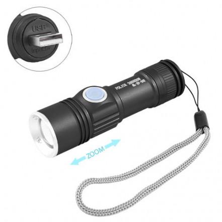 Фонарь Police BL-SY912-XPE, встроенный аккумулятор, ЗУ USB, zoom, ремешок на руку