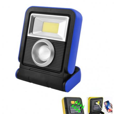 Фонарь кемпинг YD-888A-1W+COB, солн. батарея, 1x18650, ЗУ micro USB