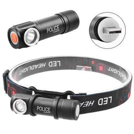 Фонарь налобный Police 2155-XPE, ЗУ USB, встроенный аккумулятор, магнит