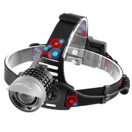 Фонарь налобный Police 2170-HP50, ЗУ micro USB, 2x18650, signal light, zoom, Box