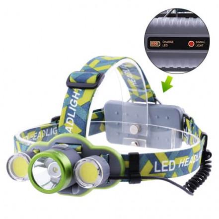 Фонарь налобный 2133-T6+2COB, ЗУ micro USB, 2х18650/3xAA, индикация заряда, signal light, Box