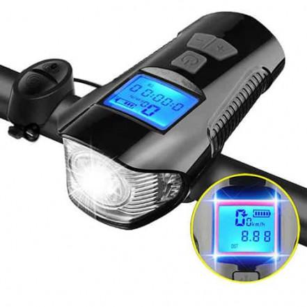 Велосипедный звонок + компьютер + велофара XA-585-T6+2LED, ЗУ micro USB, встр. аккум., выносная кнопка