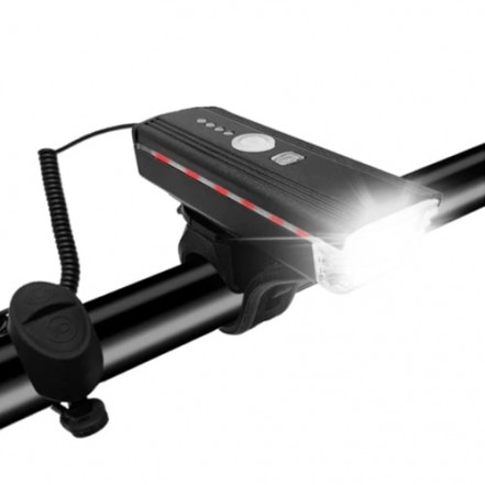 Велозвонок + фара HJ-062-XPE ULTRA LIGHT, ALUMINUM, AUTOLIGHT SENSOR, выносная кнопка, индикация заряда, Waterproof, аккум., ЗУ micro USB