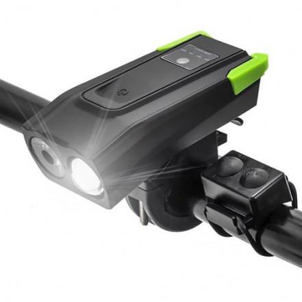 Велозвонок + фара BK-1718-2T6, выносная кнопка, 2x18650, ЗУ micro USB