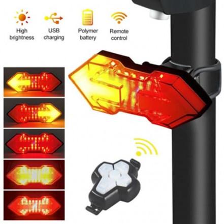 Велофонарь HYD-040 с указанием поворотов (red+yellow), ЗУ micro USB, встр. аккум., пульт управления, CR2032