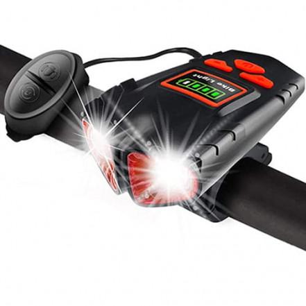 Велозвонок + фара 580-2T6, 120 LUMEN, выносная кнопка, Waterproof, аккум., ЗУ micro USB