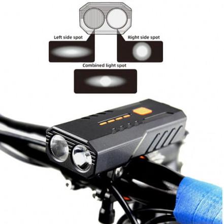 Велофонарь BC25Pro-2XPE ULTRA LIGHT, Power Bank, ipx6 Waterproof, анти разряд, аккум., ЗУ micro USB