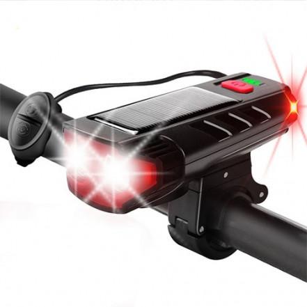 Велозвонок + фара FY-329Pro-2L2 ULTRA LIGHT, MEGA SIGNAL, солн.батарея, выносная кнопка, Waterproof, аккум., ЗУ micro USB