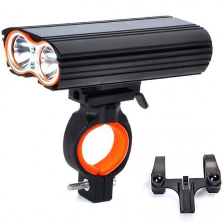 Велофонарь LR-Y2Pro-2T6 DUAL MEGALIGHT, ALUMINUM, 2 крепления, индикатор заряда, Waterproof, усиленный аккум., ЗУ micro USB
