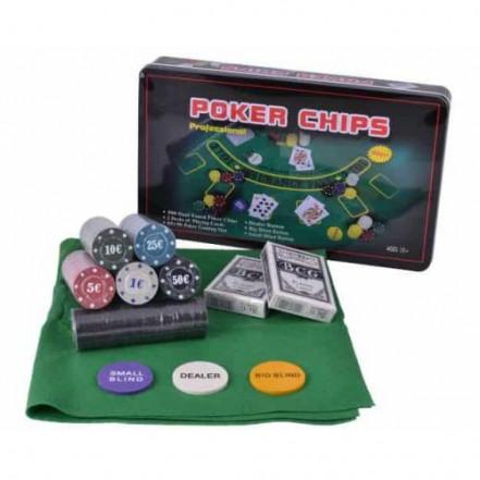 Покерный набор 300 фишек с номиналом в металлической коробке 300T