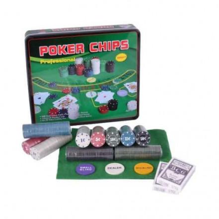 Покерный набор в металлической коробке на 500 фишек с номиналом 500T