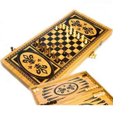 Игровой набор 3в1 нарды шахматы и шашки B 6030 C