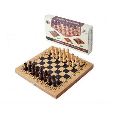Набор игр 3 в 1 Нарды,шахматы,шашки из бамбука B3015