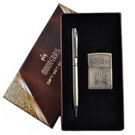 Подарочный набор Moongrass 2в1 Зажигалка, Ручка AL-305