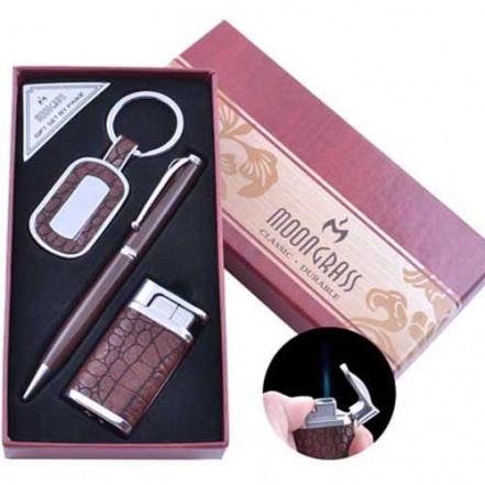 Подарочный набор брелок, ручка, зажигалка AL-009 (Острое пламя)