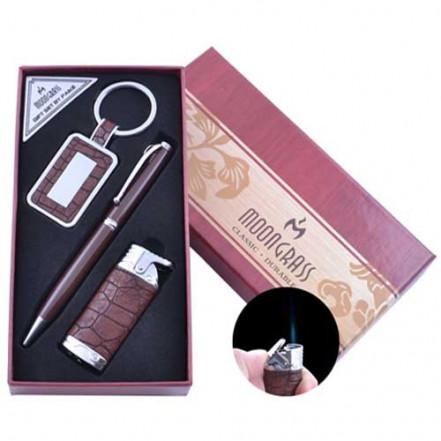 Подарочный набор брелок, ручка, зажигалка AL-010 (Острое пламя)