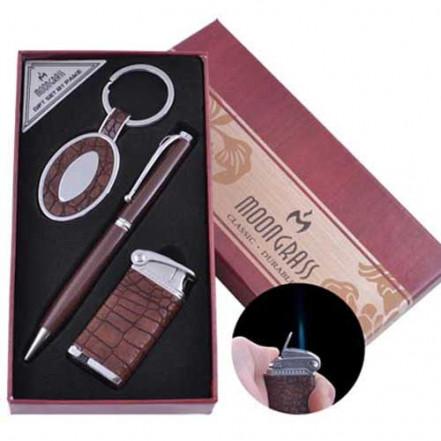 Подарочный набор брелок, ручка, зажигалка AL-011 (Острое пламя)
