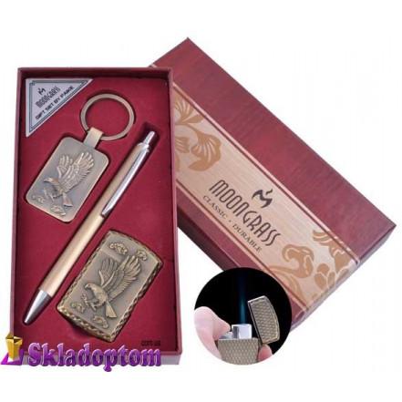 Подарочный набор брелок, ручка, зажигалка Eagle ST-5743 (Острое пламя)