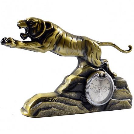 Зажигалка настольная с часами Тигр 4372
