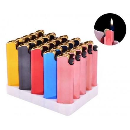 Зажигалка кремниевая пластиковая в металлическом корпусе 108-1