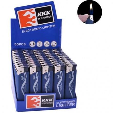 Зажигалка пластиковая обычное пламя 156A KKK (резина синяя)