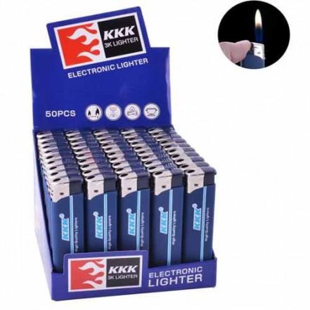 Зажигалка пластиковая обычное пламя 156B KKK (резина синяя)