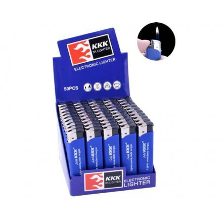 Зажигалка пластиковая обычное пламя 156D KKK (резина синяя)