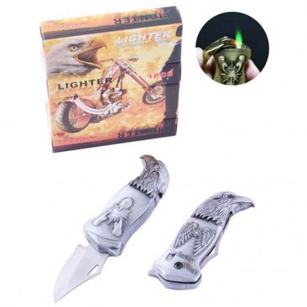 Зажигалка газовая с ножом Орел 4977 Silver (Турбо пламя)