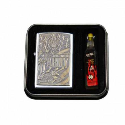 Зажигалка бензиновая в подарочной упаковке 3858-1 USA ARMY
