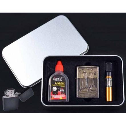 Подарочный набор 3в1 Зажигалка, бензин, мундштук 4709-1 Парусник