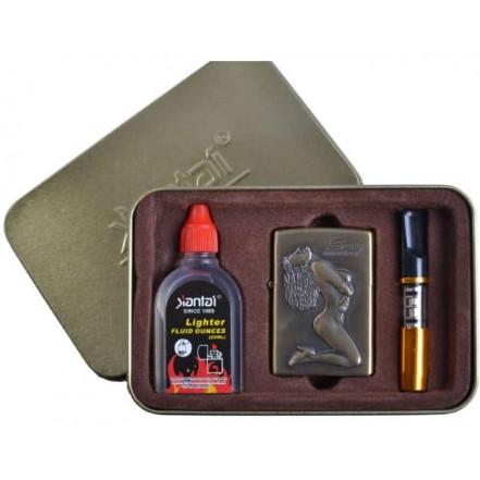 Подарочный набор 3в1 Зажигалка, бензин, мундштук SEXY 4713-1