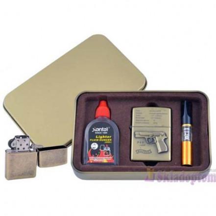 Подарочный набор 3в1 Зажигалка, бензин, мундштук 4716-3 Walther P88