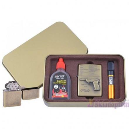 Подарочный набор 3в1 Зажигалка, бензин, мундштук 4716-4 Walther P38