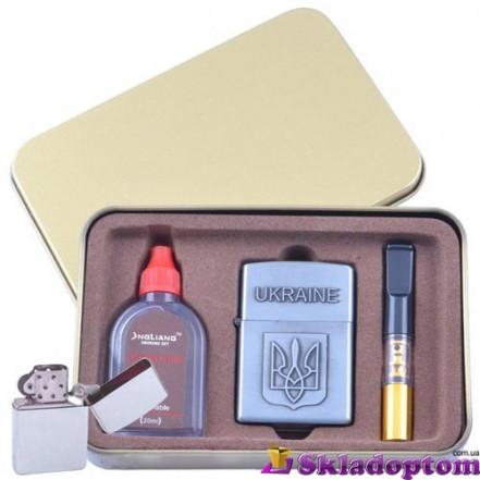 Подарочный набор 3в1 Зажигалка, бензин, мундштук 4930 Герб Украины