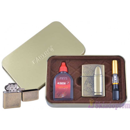 """Подарочный набор """"War"""" 3в1 (зажигалка, бензин, мундштук) 4932-1"""