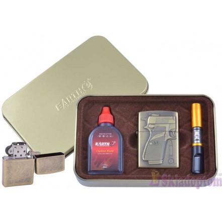 """Подарочный набор """"War"""" 3в1 (зажигалка, бензин, мундштук) 4932-2"""