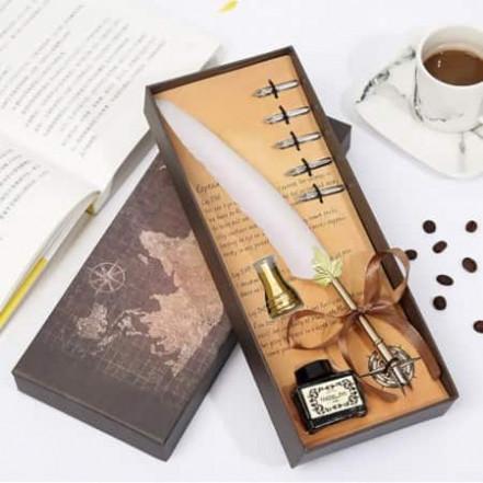 Винтажный подарочный набор для каллиграфии Ручка перьевая (белый)