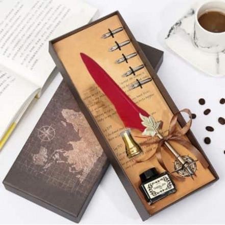 Винтажный подарочный набор для каллиграфии Ручка перьевая (красный)