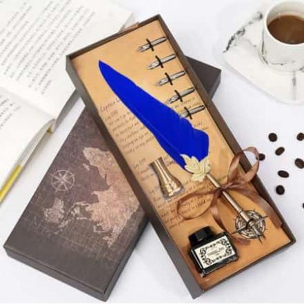 Винтажный подарочный набор для каллиграфии Ручка перьевая (синий)
