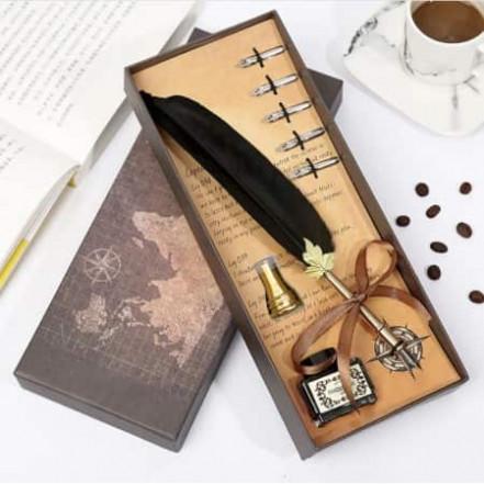 Винтажный подарочный набор для каллиграфии Ручка перьевая (черный)