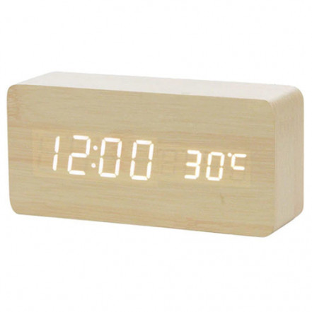 Часы сетевые VST-862-6 белые, (корпус желтый) температура, USB
