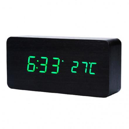 Часы сетевые VST-862-4 зеленые, (корпус черный) температура, USB