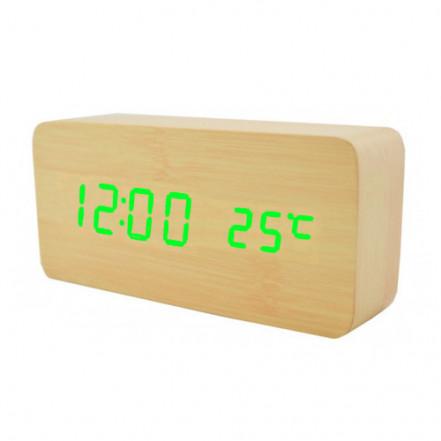 Часы сетевые VST-862-4 зеленые, (корпус желтый) температура, USB